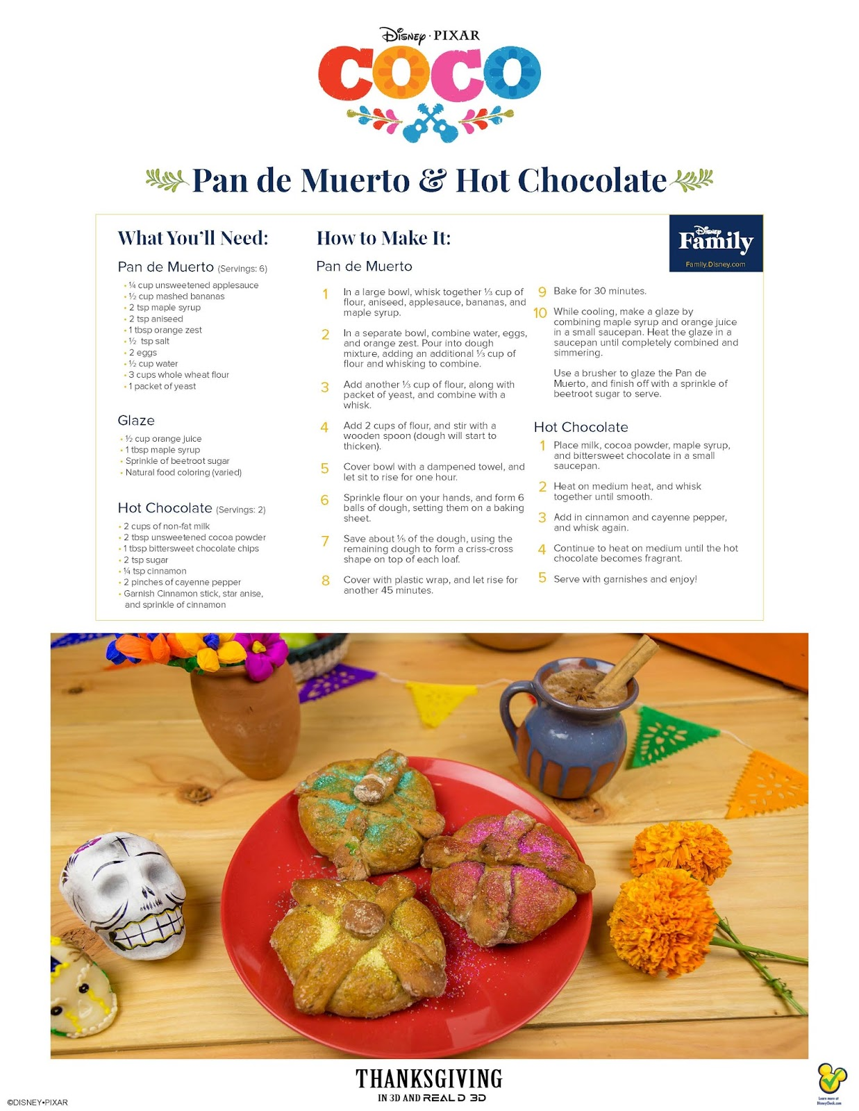 Pan de Muerto & Hot Chocolate Recipe Inspired by Disney/Pixar Coco  via  www.productreviewmom.com