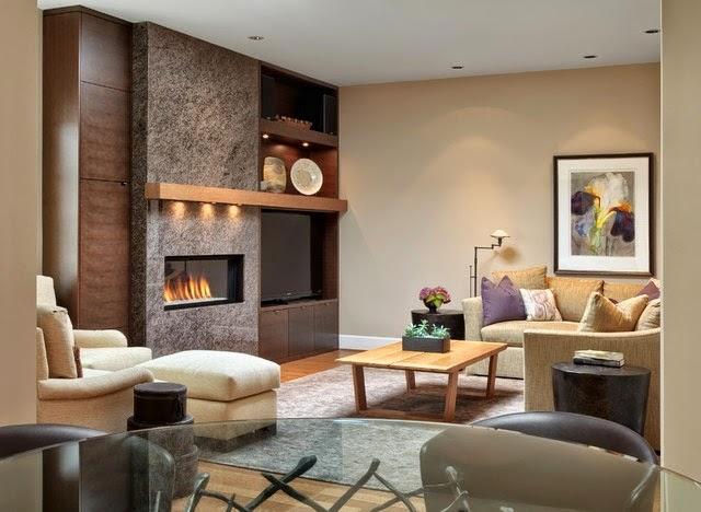 10 salas con chimenea colores en casa for Comedor con chimenea