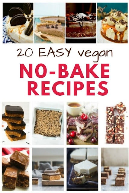 20 Easy Vegan No-Bake Recipes, A selection of the best oven-free dairy-free recipes from bars and slices to fudge and cheesecake. #vegannobake #vegantraybake #vegansnacks #veganfudge #vegansbars #veganslices #vegancheesecake #dairyfreenobake #dairyfreesnacks