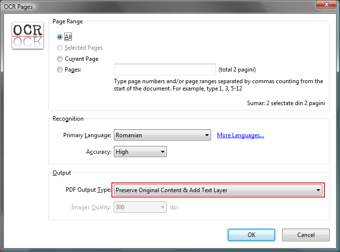 PDF-XChange Viewer OCR dialog screenshot