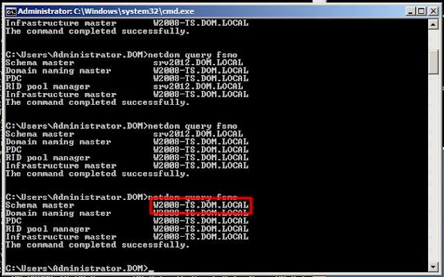 La función Maestro de esquema y todas las demás las debe ostentar nuestro servidor productivo llamado W2008-TS, con esto hemos terminado la asignación de funciones.