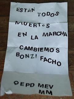 La misiva fue entregada en un sobre a la filial del oficialismo en La Matanza.