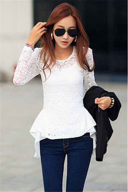 Women Stylish Lace Long Sleeve Peplum Crew Neck Tops