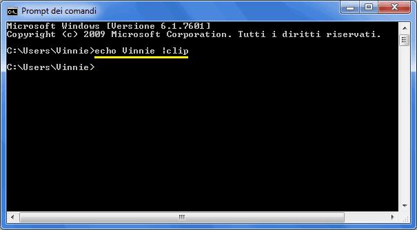 Comando prompt dei comandi per cancellare appunti Windows