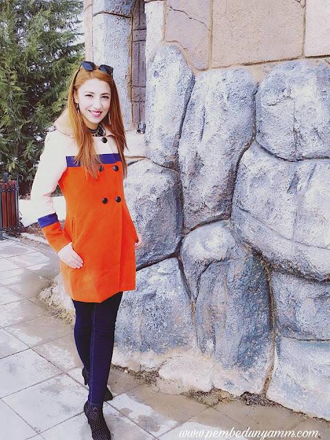 turuncu kaşe kaban