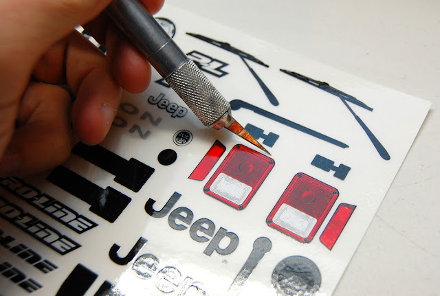 Cutting out RC car decals with an xacto