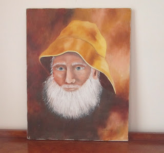 Old Man of The Sea yellow soulwester hat  oil painting resting on dresser