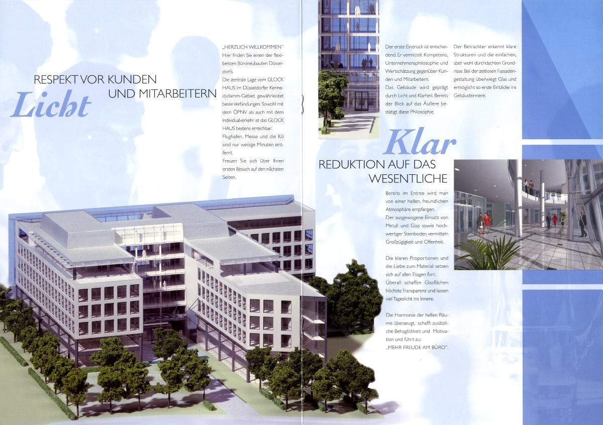 Gewerbeimmobilie; Bürogebäude, Düsseldorf, Broschüre, Texter, Robert Welz, Köln, Pulheim