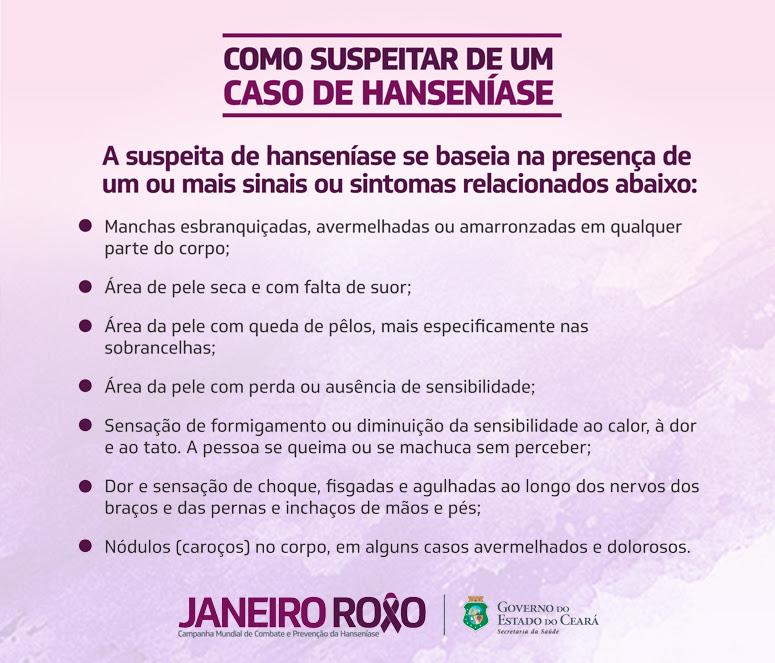 21f2a8749e0 Secretaria de Saúde do Ceará orienta sobre Hanseníase no  Janeiro Roxo