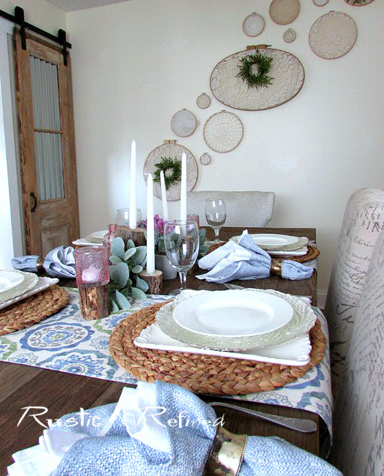 Blue & Pink Tablescape for entertaining family and friends