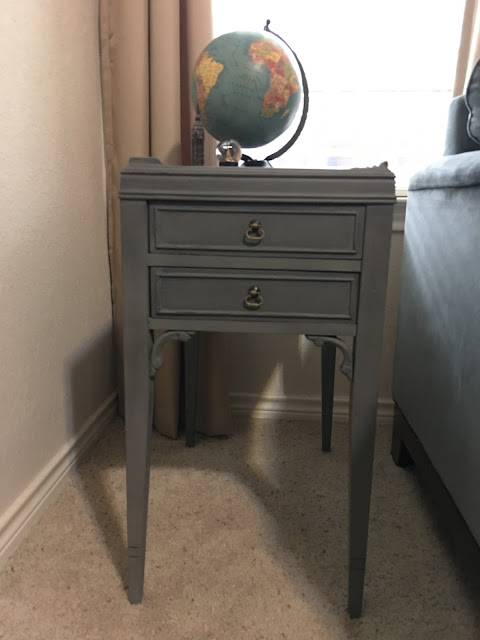 Side Table makeover with Metallic accent cream