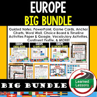 World Geography Europe Bundle, Anchor Charts, Games, Guided Notes, Digital Choice Boards, Google Classroom, Word Walls