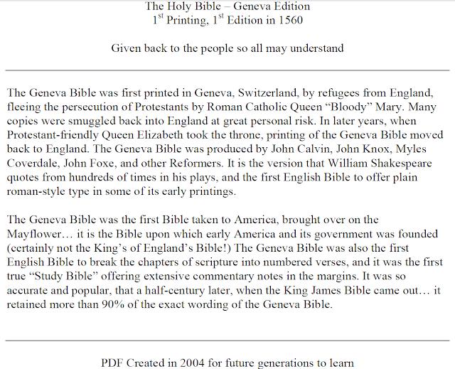 1560 Geneva Bible, 1st Edition Perfect Facsimile Reproduction + BONUS Free Leaf