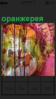 В помещении для оранжереи поставлены столики и стулья с большими окнами