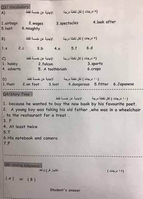 مهم اجوبة امتحان اللغة الانجليزية التمهيدي للثالث المتوسط 2017 16507823_1620560581298042_389895146455028041_n