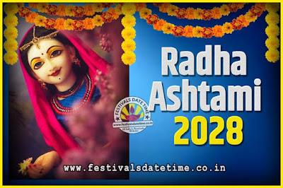 2028 Radha Astami Pooja Date and Time, 2028 Radha Astami Calendar