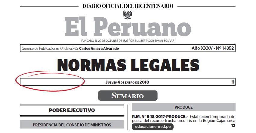 AÑO 2018: Nombre y Denominación Oficial El Peruano - www.elperuano.com.pe
