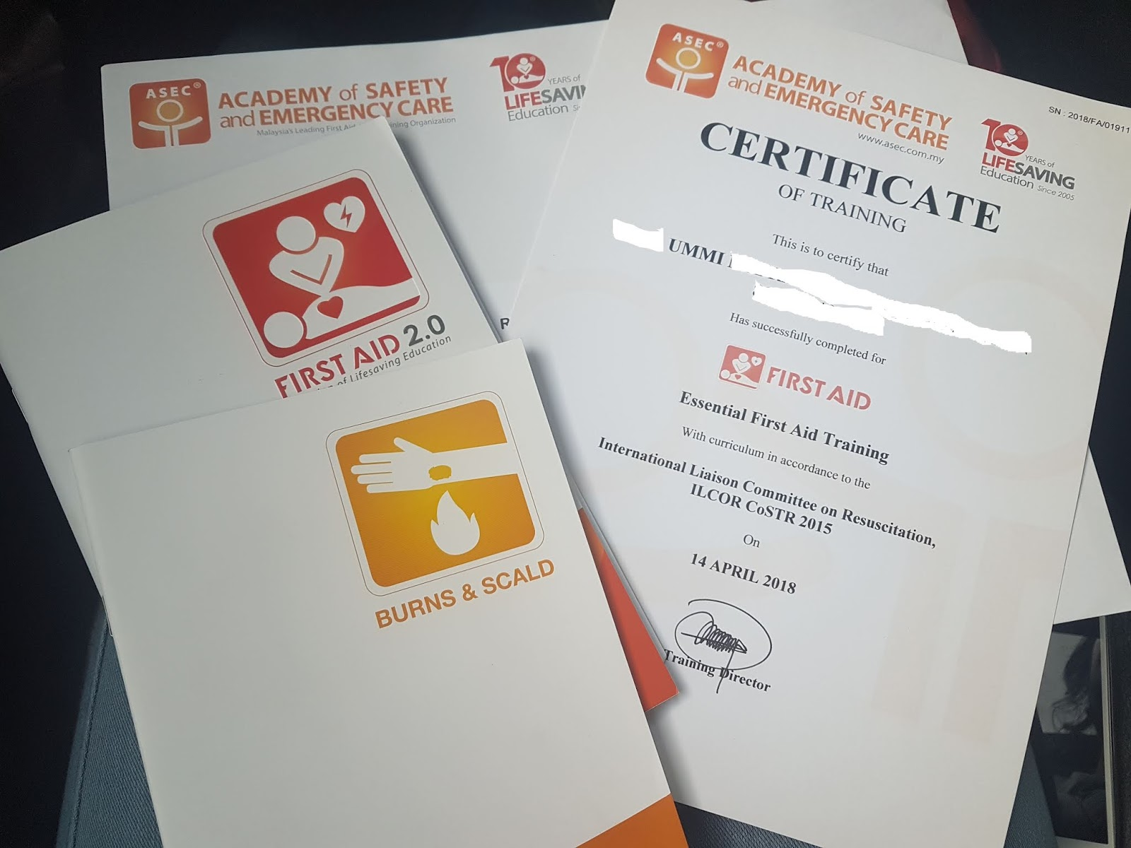 First-aid certificate