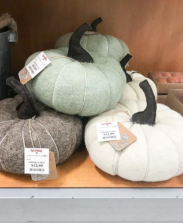 T.J. Maxx wool pumpkins