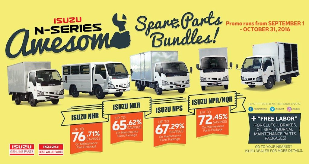 ... 1 Light Duty Truck In The Country, The Isuzu N Series Truck, Isuzu  Philippines Corporation (IPC) Is Offering Substantial Discounts On  Maintenance Parts.
