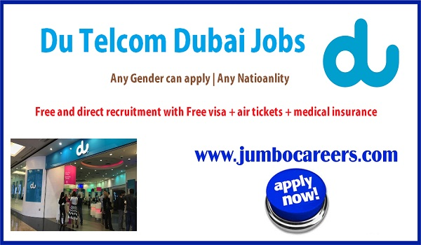 Details of UAE Du Telcom jobs, About the vacant positions in Du Telcom Dubai,