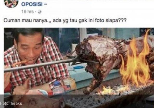 Keterlaluan, Akun Ini Bener-bener Jahat Edit Foto Fitnah Jokowi Makan Sate Babi