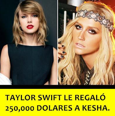 Taylor Swift le donó 250,000 dolares a Kesha, de acuerdo a la madre de Kesha.
