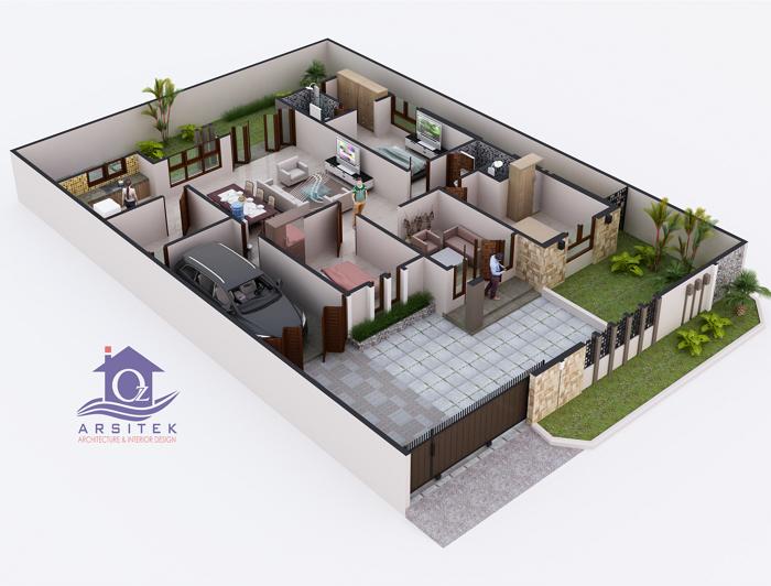 Denah 3D Rumah Minimalis Modern