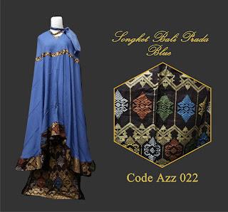 Gambar Mukena Songket Bali Prada Blue