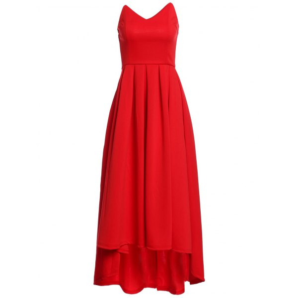 Strapless High Waist Pleated Ball Gown Red Maxi Dress