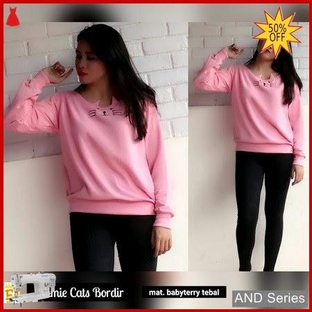 AND228 Sweater Wanita Mimie Cats Bordir BMGShop