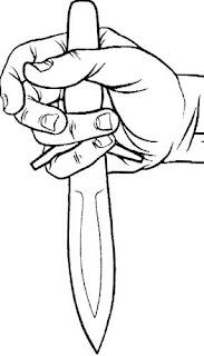 Особый захват упора рукоятки боевого ножа