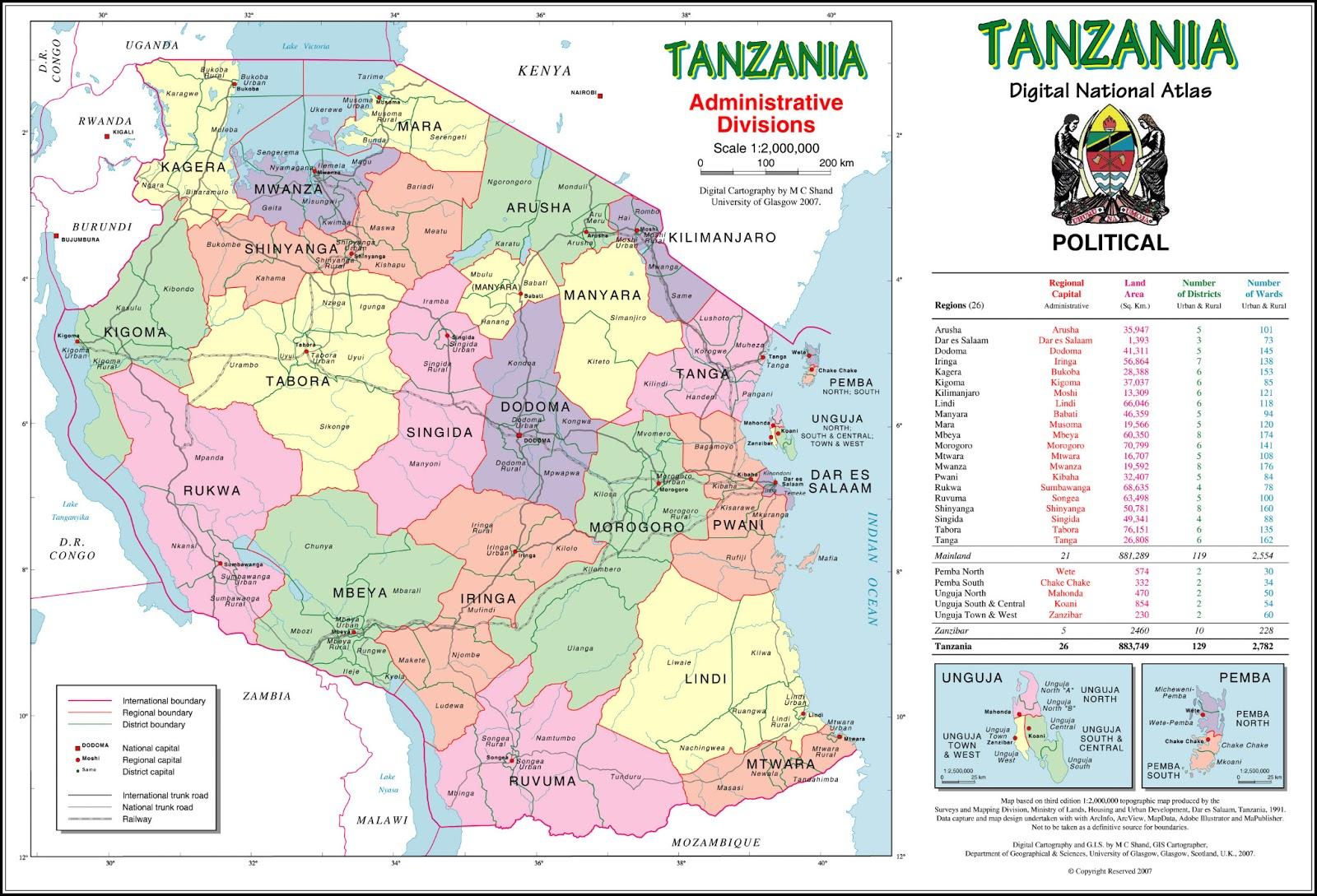 Tanzânia | Mapas Geográficos da Tanzânia