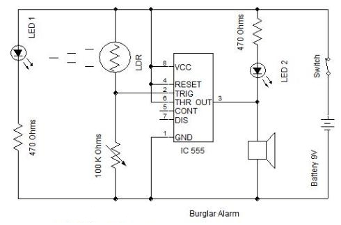 Burglar Alarm Circuit Diagram