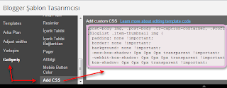 Blogger'da Css Kodu Ekleme
