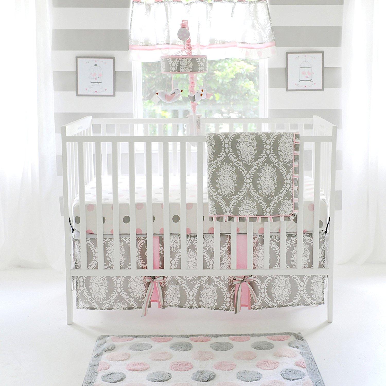 The right on mom vegan mom blog darling pink and grey baby room my baby sam olivia rose 3 piece crib bedding set pinkgray arubaitofo Choice Image