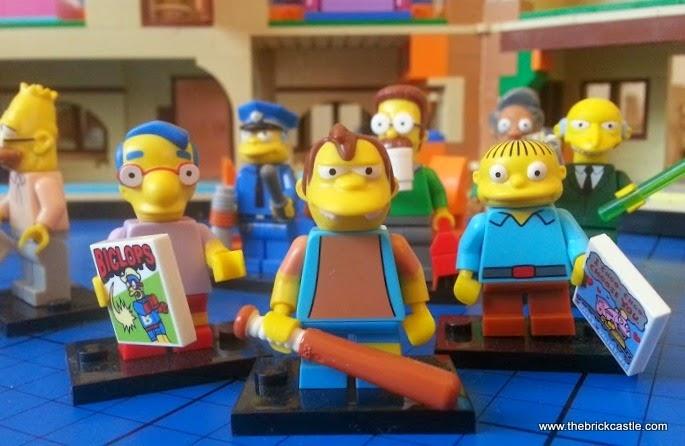 LEGO Simpsons minifigure chaacters Millhouse, Ralph and Nelson