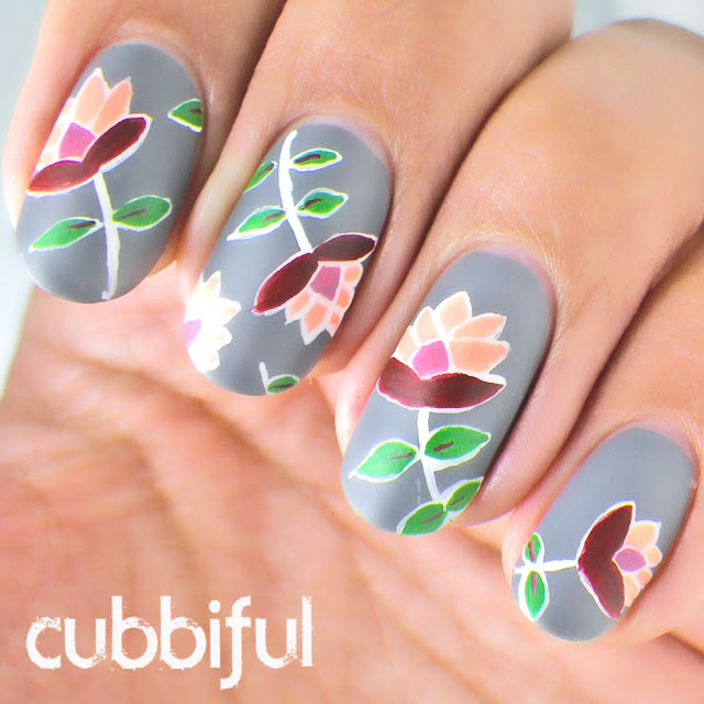 Freehand flower nail art, inspired by @cottonconey