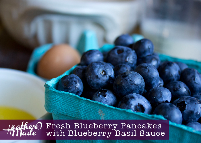 fresh blueberry pancakes with blueberry basil sauce. recipe.