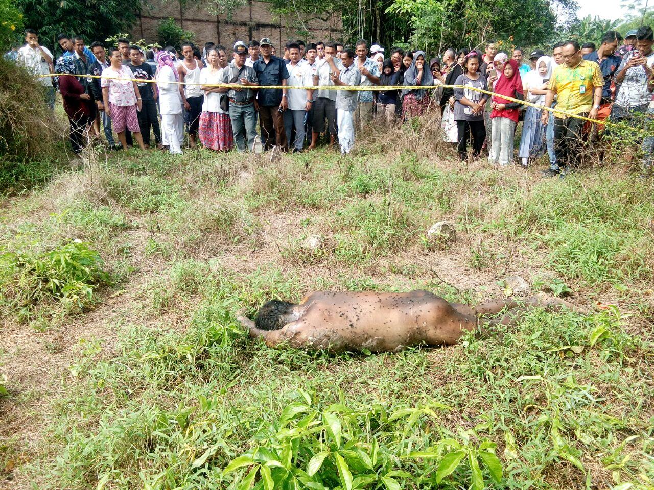 Warga menyaksikan penemuan mayat