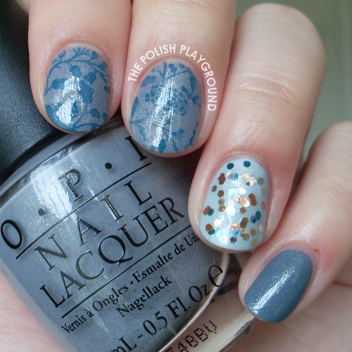 Grey and Blue Skittle Nail Art