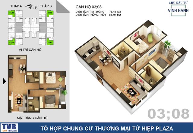 Thiết kế căn hộ 03 và 08, diện tích 66m2 thông thủy (02 phòng ngủ)
