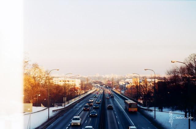 trasa łazienkowska, zima, śnieg