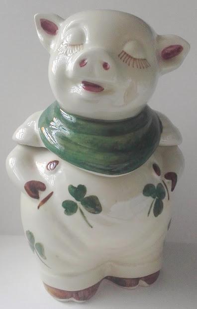 Shawnee Smiley Pig Cookie Jar Vintage Pottery Shamrocks