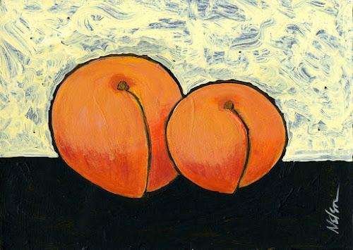 Pintura de dois pêssegos muito vívidos, de autoria de Janet Nelson