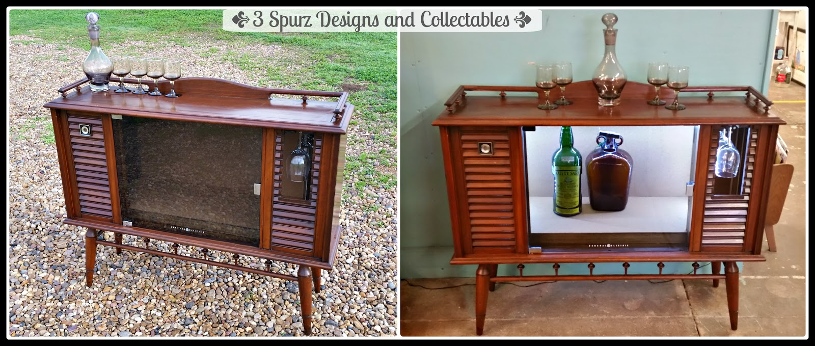 3 Spurz DandC Repurposed /Refurbished Creations!!: Mid Century TV Cabinet  Bar