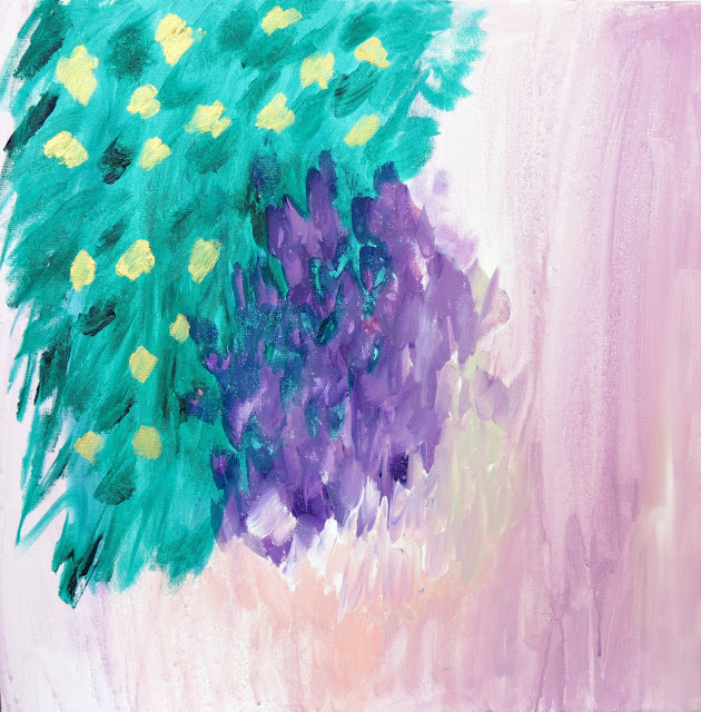 Pink purple green gold original abstract painting