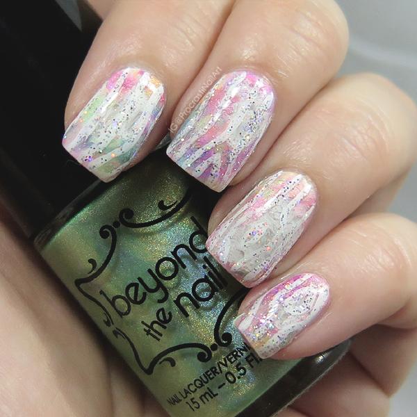 Rainbow wood nail art