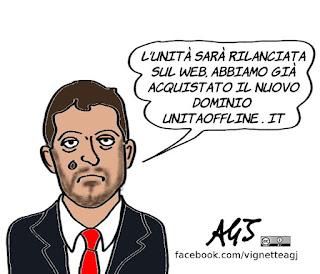 L'Unità, romano, crisi, licenziamenti, editoria web, satira, vignetta