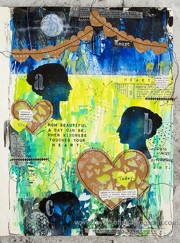 Layers of ink - Vibrant Mixed Media Art Journal Page tutorial by Anna-Karin